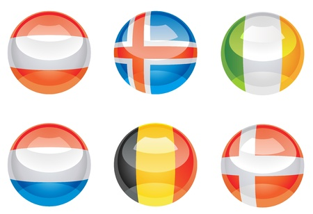 Extra glossy, nation flag icons Vector