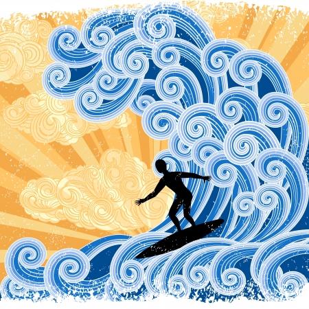 oceano: Surfer desliza sobre una onda estilizada, ilustración de estilo retro grande
