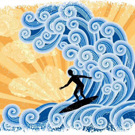 wave: Surfer slides on a big stylized wave, retro-styled illustration