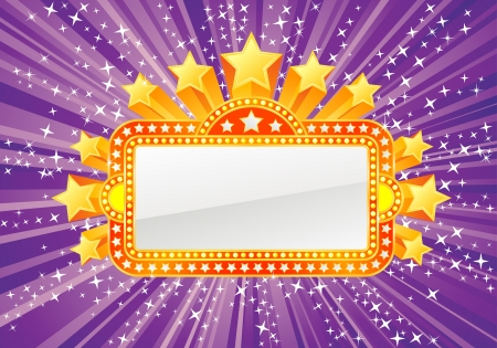 Marquee banner with stars and lights, file is separated on layers.  Vector