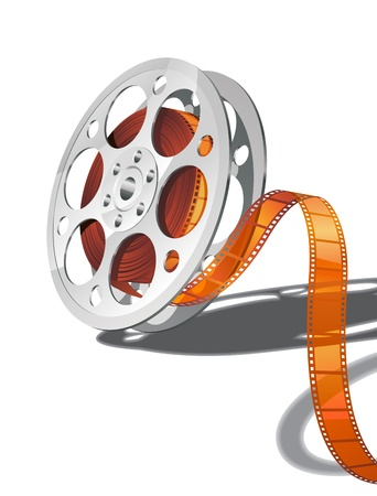 Camera reel with film. Only simple gradients used, no transparency.  Illustration