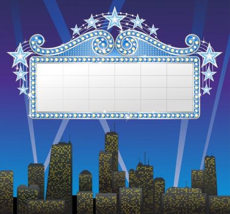 marquee sign: Marquee striscione con luci e stelle, sullo sfondo paesaggio urbano. Vettoriali