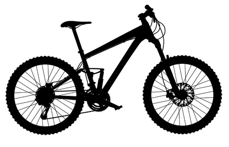silhouette of full-suspension mountain bike