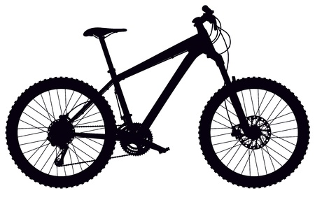 bicycle wheel: silhouette of hard tail mountain bike, with design