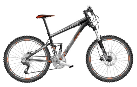 mtb: illustration of full-suspension mountain bike, with design.  Illustration
