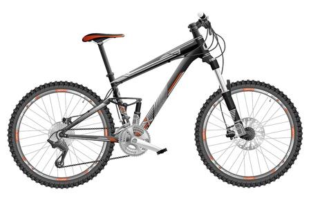 illustration of full-suspension mountain bike, with design.  Illustration