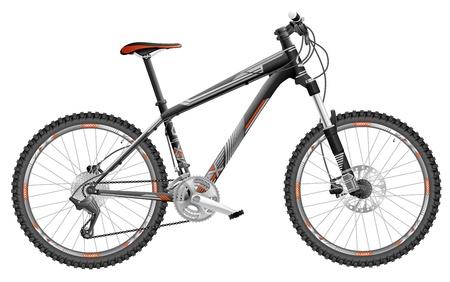 mtb: illustration of hard tail mountain bike, with design Illustration