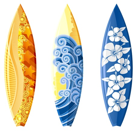 Illustration of surfboards, with design, isolated on white