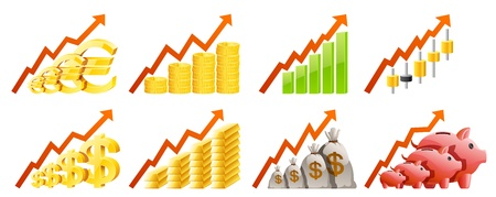dollar sign icon:  Set of charts illustration, contains transparency