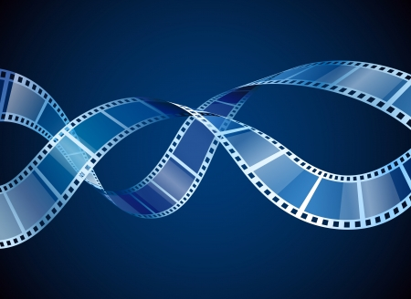 Background with waving film strip, contains transparency