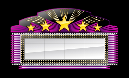 theater sign: Marquee banner, on black