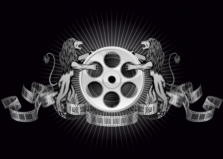 reel to reel: Film reel firth lions, file has layers, contains transparency