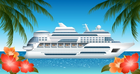 Caribbean sea:  Cruise ship, file contains transparency Illustration