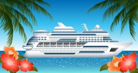 Cruiseschip, bestand transparantie bevat Stock Illustratie