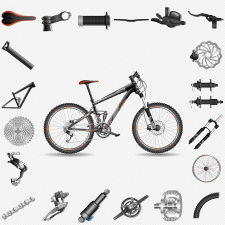 bicycle frame: Bicicleta con partes Vectores