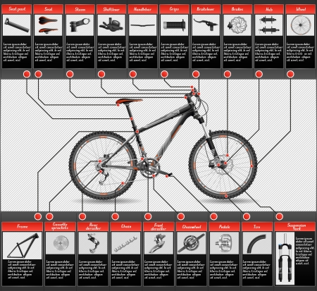 High detailed scheme of hardtail MTB, file has layers, contains transparency, EPS 10