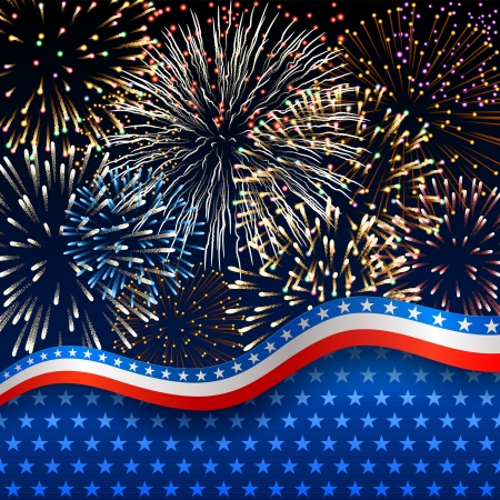 Patriotic background with fireworks Stock Vector - 20241413