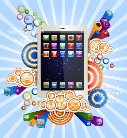 Tablet pc with funky background Иллюстрация