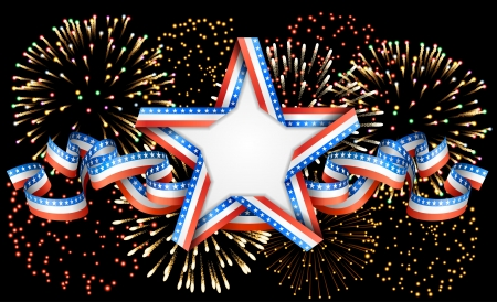 Patriotic background with fireworks Stock Vector - 20241403