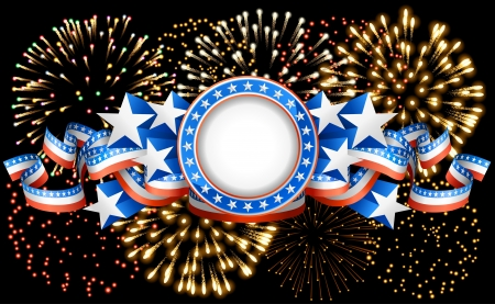Patriotic background with fireworks