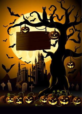 ghastly: Spooky Halloween Night, haunted castle, and tree with Jack-o-Lanterns