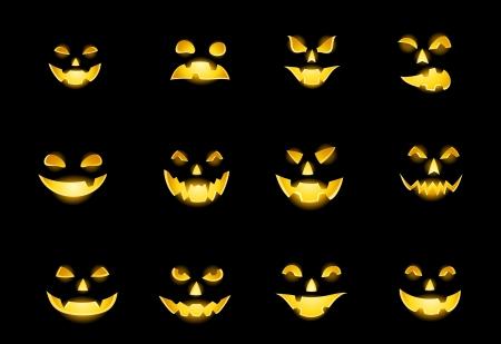 jack o lantern: Set of Jack-o-Lanterns face expression