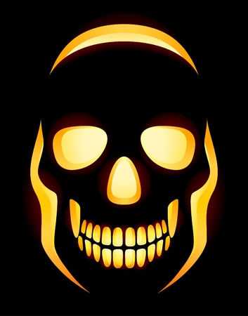 Original Jack-o-Lantern skull on black