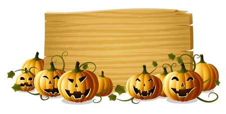 Jack-o-lanterns with wooden blank sign