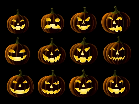 Set of Jack-o-lanterns on black Vector