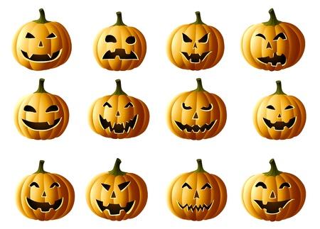 Set of Jack-o-lanterns on white Illustration