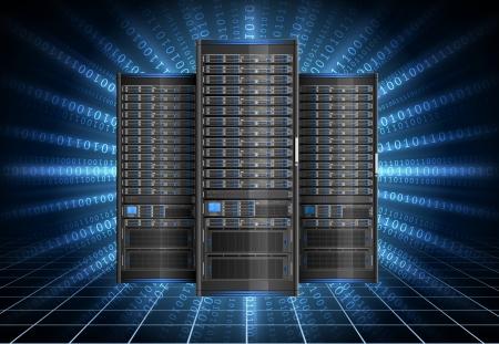 Illustration of network server on the digital background