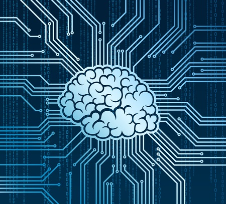 Abstract human brain in place of processor Illustration