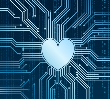 Abstract heart in place of processor Stock Illustratie