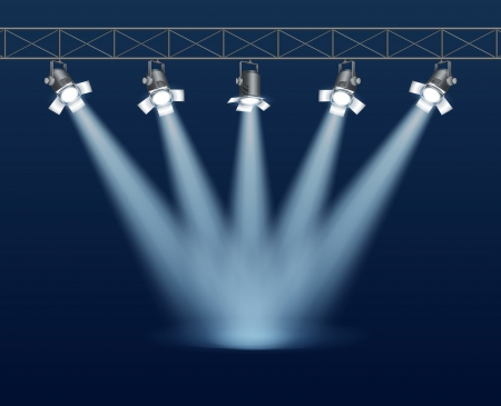 Concert stage with floodlight Vector