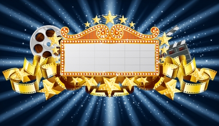 movie clapper: Golden marquee banner, with movie clapper and film reel