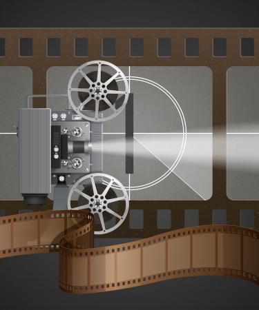 Illustratie met een hoge gedetailleerde filmprojector en filmteller
