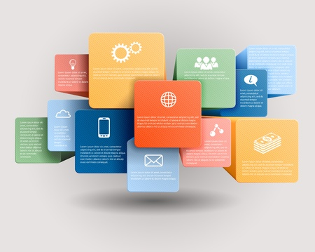 cubo: Infografía plantilla, cubos de vectores y plazas