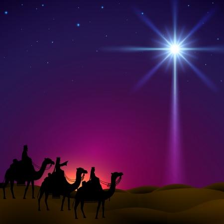 nascita di gesu: Tre uomini saggi seguono la stella di Betlemme Vettoriali