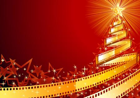 locandina arte: Natale albero di pino, fatto di striscia di pellicola