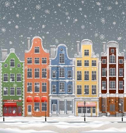 Illustration of old european town, at winter Ilustracja