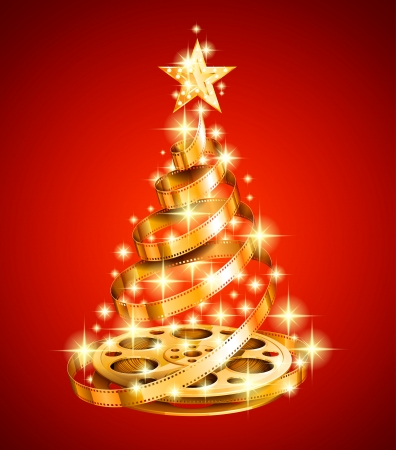 celluloid film: Golden film strip christmas tree Illustration