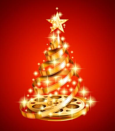 Golden film strip christmas tree Stock Illustratie