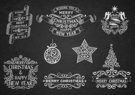 negro: Conjunto de etiquetas de felicitación de la Navidad, a mano con tiza en el pizarrón negro