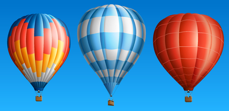 air sport: Hot air balloons set isolated on blue