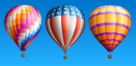 Hot air balloons set isolated on blue