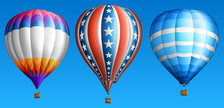 ballooning: Hot air balloons set isolated on blue
