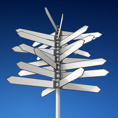 Realistic elaborated illustration of empty directional sign, shows many directions