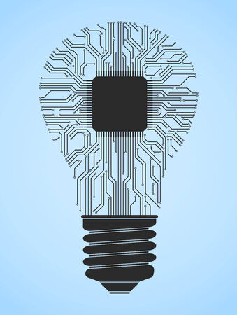 computer chip: abstract light bulb on computer chip Illustration