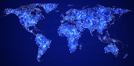 抽象的な図は世界のインターネットとグローバル通信