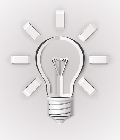 abstract light bulb made of white paper
